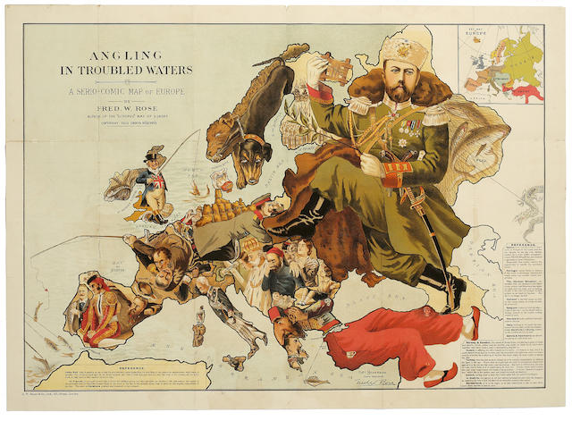 COMIC MAP ROSE (FREDERICK W.) Angling in Troubled Waters - A Serio-Comic Map of Europe