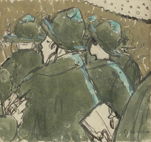 Gwen John (British, 1876-1939) Les Chapeaux à Brides 10 x 11 cm. (4 x 4 1/4 in.)