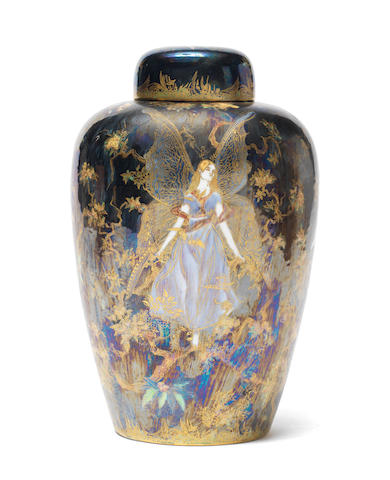 Daisy Makeig-Jones for Wedgwood  'Butterfly Women' a Rare Fairyland Lustre Vase and Cover, circa 1920