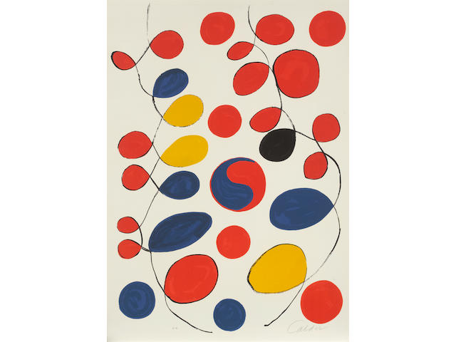 Alexander Calder (American, 1898-1976) Loops Colour lithograph, 1969, on wove, signed and inscribed 'E.A.' in pencil, aside from the edition of 90, 810 x 575mm (31 7/8 x 22 5/8in)(I)(unframed)