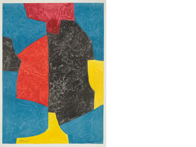Serge Poliakoff (Russian, 1900-1969) Composition rouge, bleue, jaune et noire Lithograph in colours, on wove, 1010 x 690 mm (39 3/4 x 27 2/8 in) (SH) (Unframed)