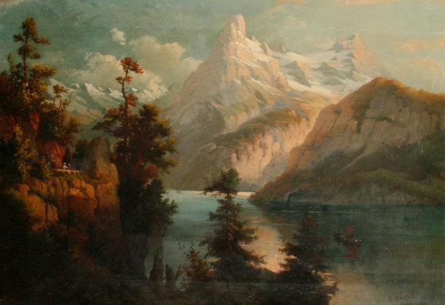 Albert Bierstadt (German/American, 1830-1902) Lake Scene