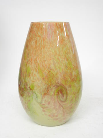A Scottish cased glass vase in the style of Monart