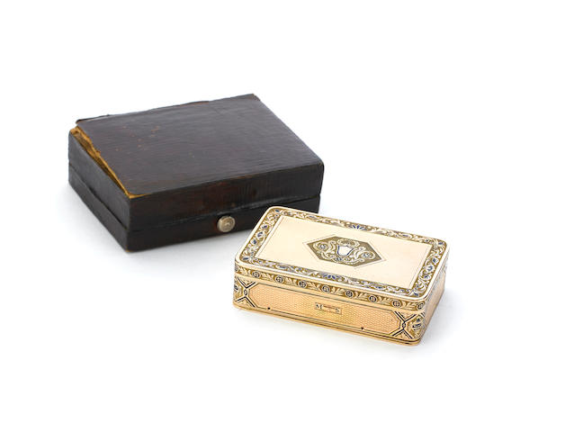 Gold and enamel musical snuffbox, with red leather travelling case