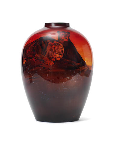 Arthur Eaton and Charles Noke for Doulton Burslem A Rare Sung Vase with Lion and Lioness, circa 1920