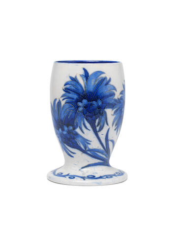William Moorcroft 'Cornflower' an Unusual Salt-glazed Vase, circa 1925