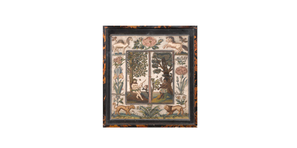A needlework mirror with folding shutters English, circa 1660