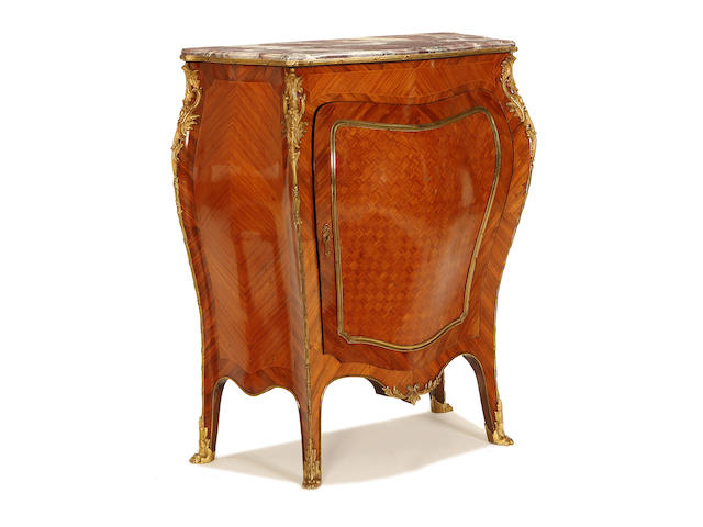 A French early 20th century bois satiné and gilt metal mounted meuble d'appui in the Louis XV style
