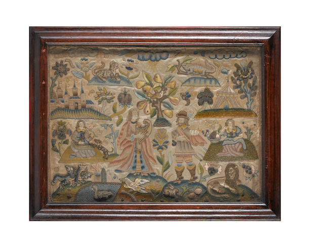 7A fine needlework picture English, 17th Century