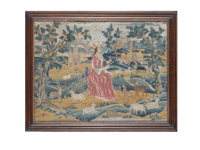 A needlework picture English, early 18th Century