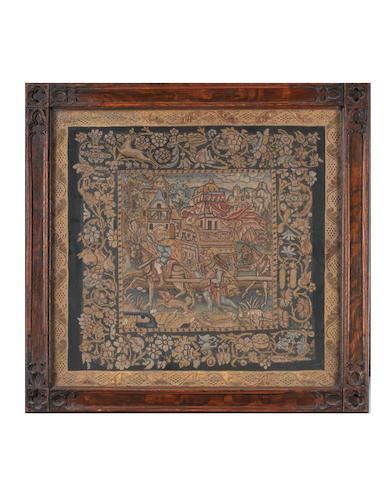 A pair of square needlework panels Franco-Scottish, circa 1600