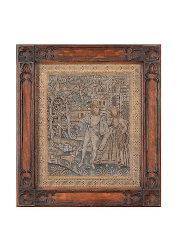 702A pair of needlework panels Franco-Scottish, late 16th or early 17th Century