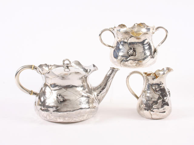 A late 19th/20th century American silver three piece tea set By George W. Shiebler & Co, New York,  (3)