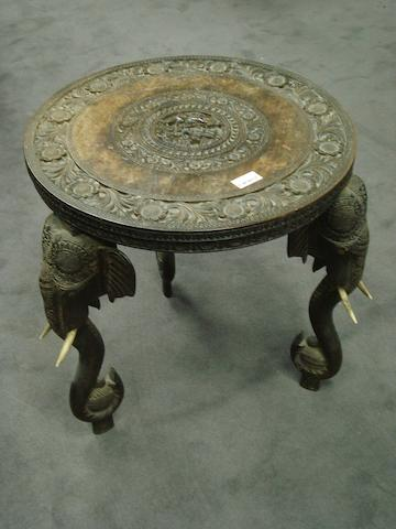 An ebonised wood and ivory occasional Table Southern India, late 19th Century