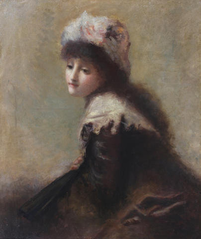 Belgian School Late 19th Century Portrait of a young woman 51 x 43cm.