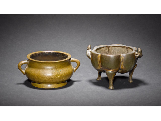 Two metal censers, comprising: one of circular form with Xuande six-character mark; and one of tripod form