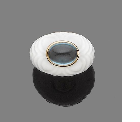 A topaz and ceramic dress ring,  by Bulgari