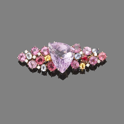 A gem and diamond-set brooch
