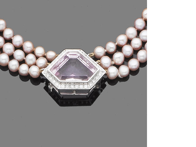 A three-strand cultured pearl, kunzite and diamond necklace/brooch