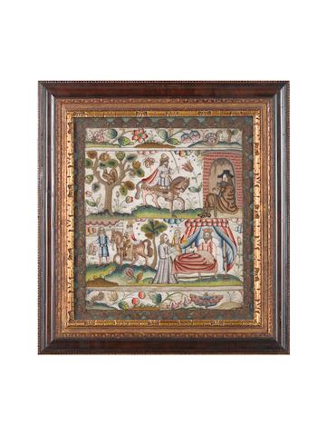 A needlework panel English, mid-17th Century