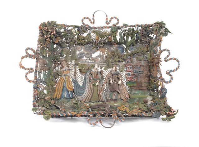 A beadwork basket English, mid 17th Century