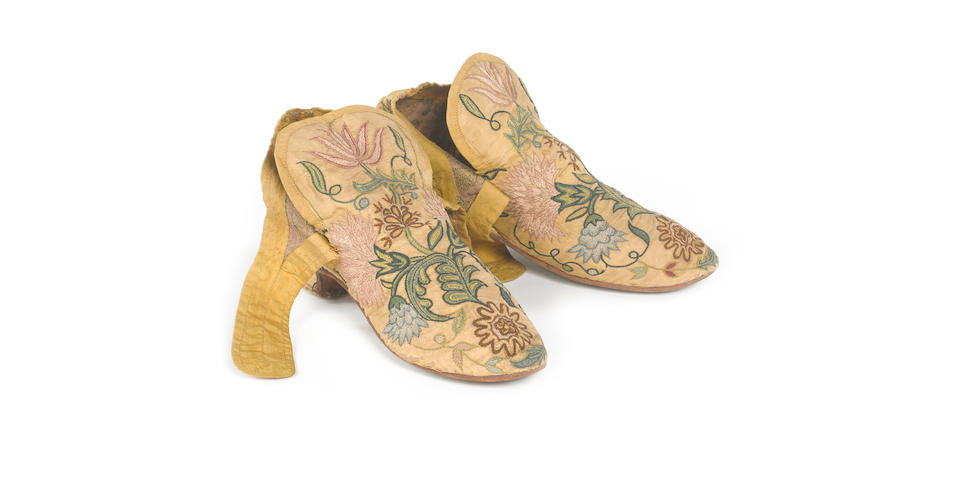 A pair of lady's shoes English, mid-17th Century
