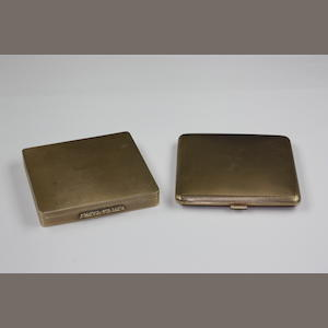 Two engine-turned 9ct gold powder compacts