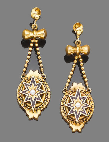 A late 19th century diamond and enamel locket pendant necklace and earring suite, (2)