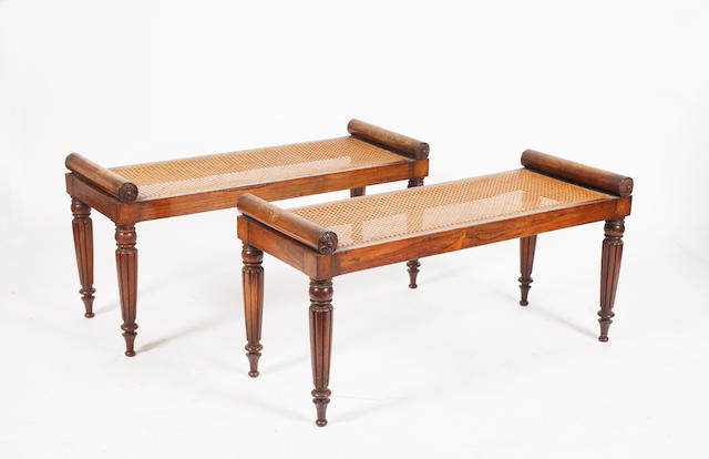 A pair of William IV mahogany hall seats, squab cushions