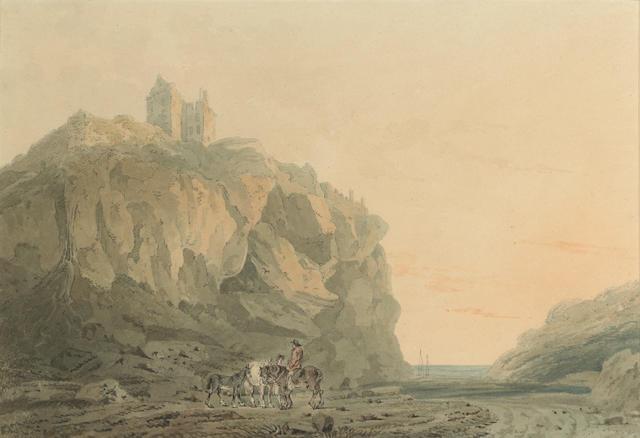 Attributed to Thomas Girtin (British, 1775-1802) Dunotter Castle, Kincardineshire