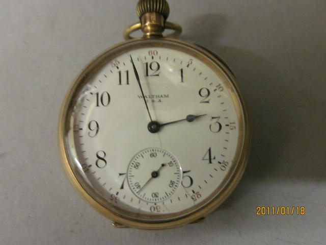 Waltham: A 9 carat gold open faced pocket watch,
