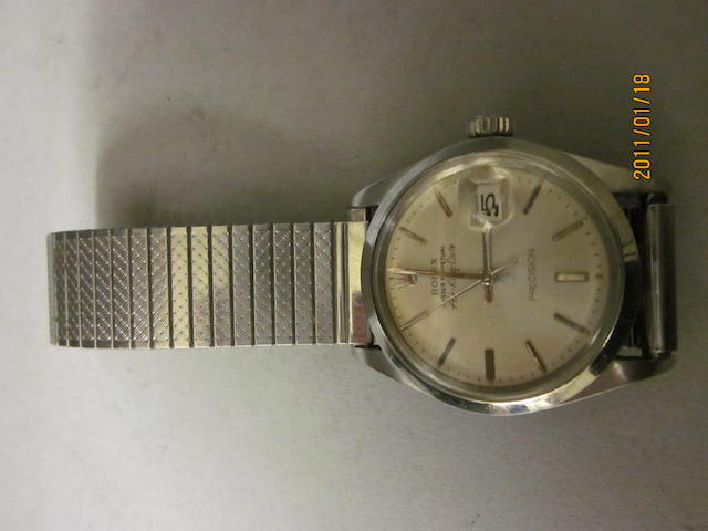 Rolex: A gentleman's stainless steel Air-King Date oyster perpetual bracelet watch,