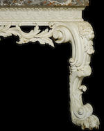 An important George II carved white painted console table