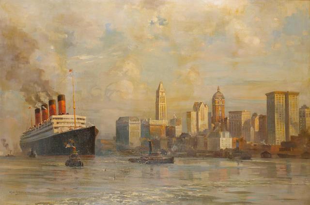 Odin Rosenvinge (British, 1880-1957) R.M.S. Aquitania leaving New York