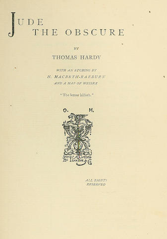 HARDY (THOMAS) Jude the Obscure, 1896; The Well-Beloved, 1897, Osgood and McIlvaine