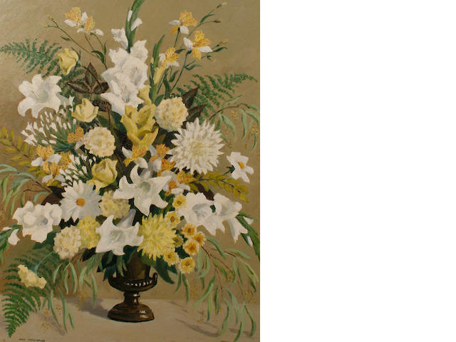 Iain MacNab (British, 1890-1967) Still life with yellow and white blooms
