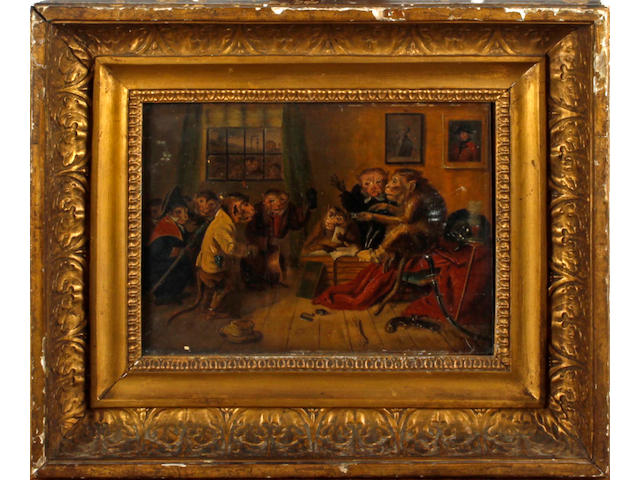 English School, 19th Century Anthropomorphic scene with monkeys in a courtroom