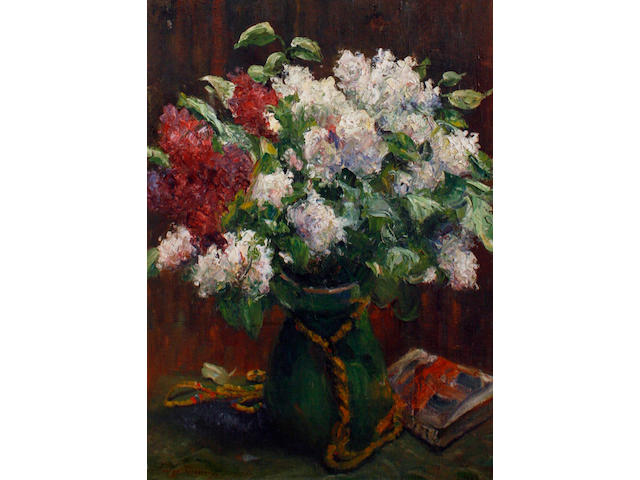 Continental School 20th Century Still Life of Flowers in a Large Green Vase