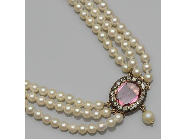A three row uniform cultured pearl choker necklace