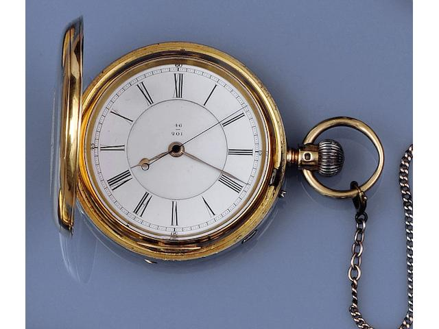J. Hargreaves & Co, Liverpool: An 18ct gold keyless wind hunter pocket watch(2)