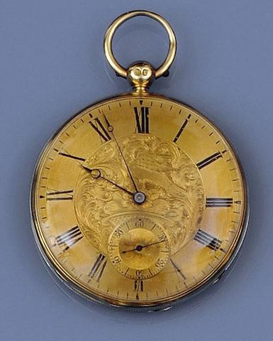 An 18ct gold slim open faced pocket watch