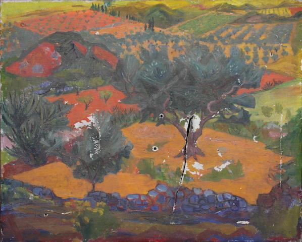 Frederick Gore (British, 1913-2009) 'Red landscape, Les Baux' 63 x 76cm. Unframed