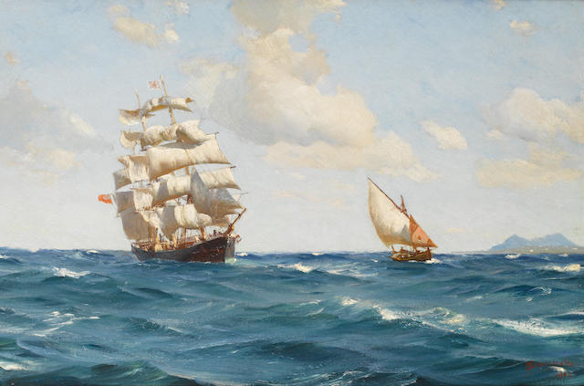Thomas Jacques Somerscales (British, 1842-1927) 'Off the mouth of the Tagus'