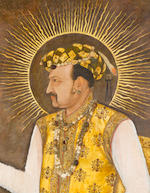 An Important Life-Size Portrait of the Mughal Emperor Jahangir holding a globe Attributed to Abu'l Hasan, dated AD 1617