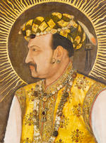 THE LARGEST KNOWN MUGHAL PORTRAIT: A MAGNIFICENT LIFE-SIZE  PAINTING IN WHICH THE EMPEROR JAHANGIR (reg. 1605 - 1627), THE 'WORLD-SEIZER', LAYS CLAIM TO SPIRITUAL AND TEMPORAL POWER ON A GLOBAL STAGE Attributed to Abu'l Hasan, Nadir al-Zaman painted at Mandu and dated AH 1026/AD 1617