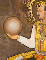 An Important Life-Size Portrait of the Mughal Emperor Jahangir holding a globe Attributed to Abu'l Hasan