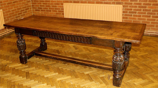 A 20th century, 17th century style, oak refectory table