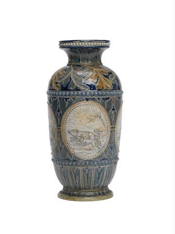Doulton Boars Hunt vase