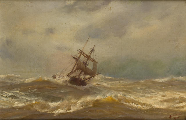 Thomas Jacques Somerscales (British, 1842-1927) On the open seas