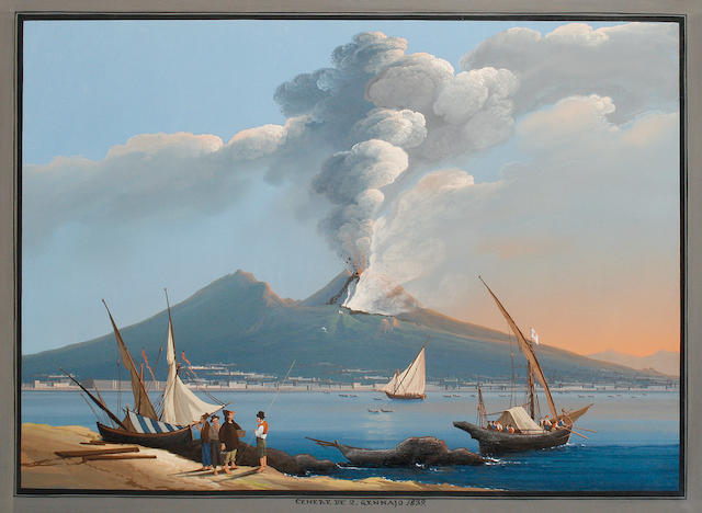Neapolitan School, late 19th/early 20th Century Vesuvius erupting, a set of five four: 51.5 x 73cm (20 1/4 x 28 3/4in); one: 73 x 51.5cm (28 3/4 x 20 1/4in). (5)